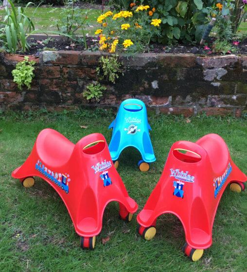 Set of 3 Whirlees Ride On Toddler Bike Toys Hire Southampton