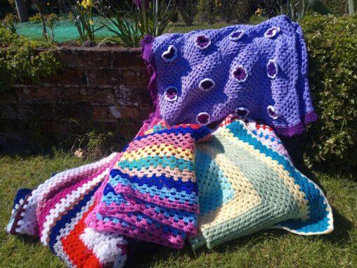 Crochet blankets for weddings and festival hire, Southampton UK