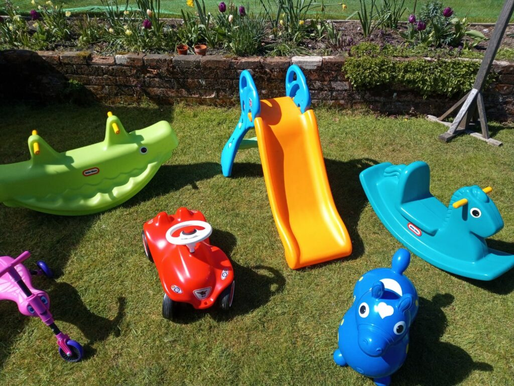 Selection of garden toys for toddlers weekend hire Southampton